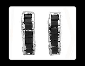 Xmas Gift Black Onxy White Gold GP Earrings Fashion Jewelry Hoop