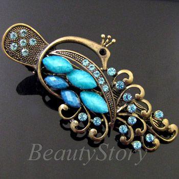 ADDL Item  antiqued rhinestone crystals peacock hair