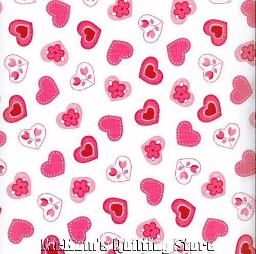 PINK HEARTS~Valentines Day Quilt Fabric~WHITE~1/2 YD
