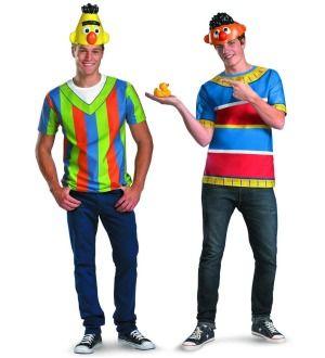 Sesame Street   Bert & Ernie T Shirt & Headpiece Adult Set   LG/XL