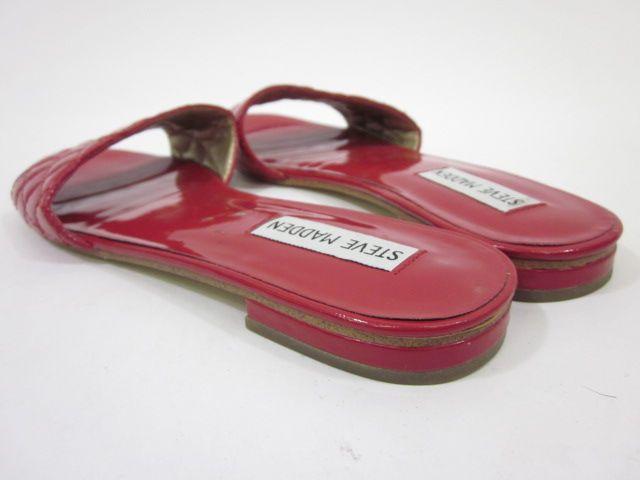 STEVE MADDEN Red Patent Leather Slides Sandals Sz 7