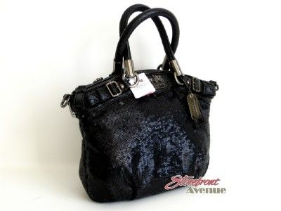 NWT Coach Madison Black Sequins Mini Sophia Cross body/Satchel Handbag