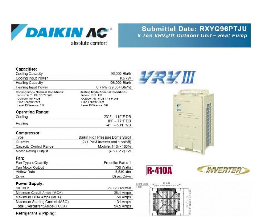 DAIKIN VRV III 8 Ton commercial Ductless Air conditioner Heat pump