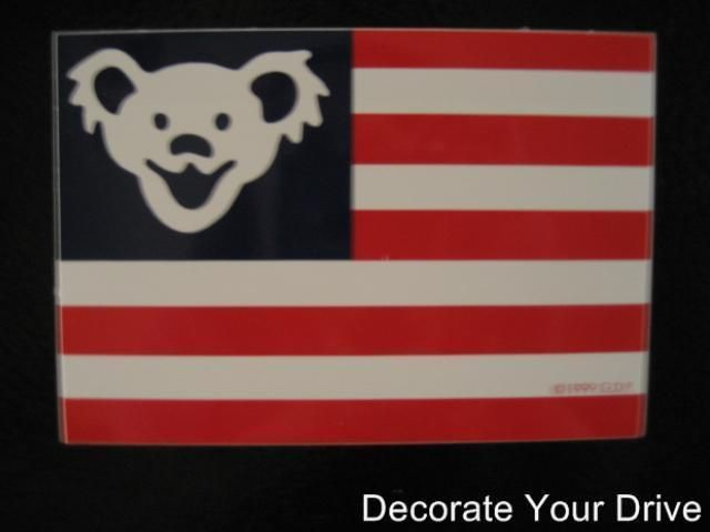 STICKER licensed Patriotic Grateful Dead Dancing Bear American flag